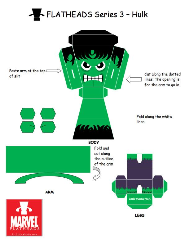 Blog Paper Toy papertoys FlatHeads Hulk template preview FlatHeads Series 3   Marvel Heroes (x 5)