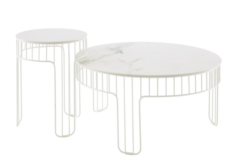 CADENCE tables by Chhor & Logerot are a marble effect stoneware top set on an white lacquered steel base.