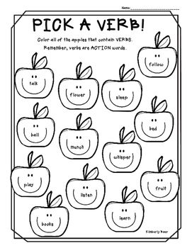 Pick a Verb! Color Worksheet Literacy worksheets, Nouns