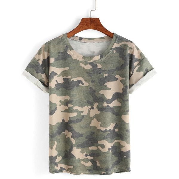 Rolled Sleeve Camouflage T-shirt (12 BAM) ❤ liked on Polyvore featuring tops, t-shirts, camouflage tee, camo top, camo t shirt, camouflage t shirts and rolled sleeve t shirt