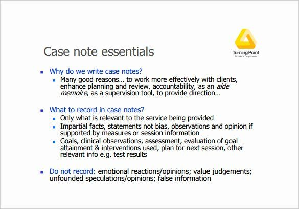 Social Work Case Notes Template New Case Notes Template 7 Free