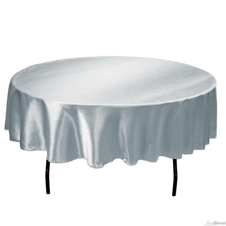 Buy 90 Inch Round Grey Satin Tablecloth For Weddings At LinenTablecloth!  Seamless And Machine Washable