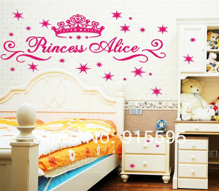Gratis verzending: cartoon prinses kroon 2set/lot sterren alice meisje 3d kinderkamer decor muur stickers