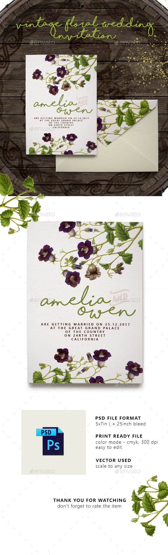Vintage Floral Wedding Invitation - #Weddings #Cards & Invites Download here: https://graphicriver.net/item/vintage-floral-wedding-invitation/19971484?ref=alena994
