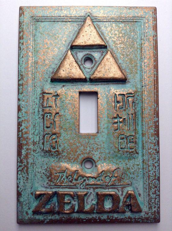 Legend of Zelda Stone or Copper/Patina Light Switch Cover (Custom)