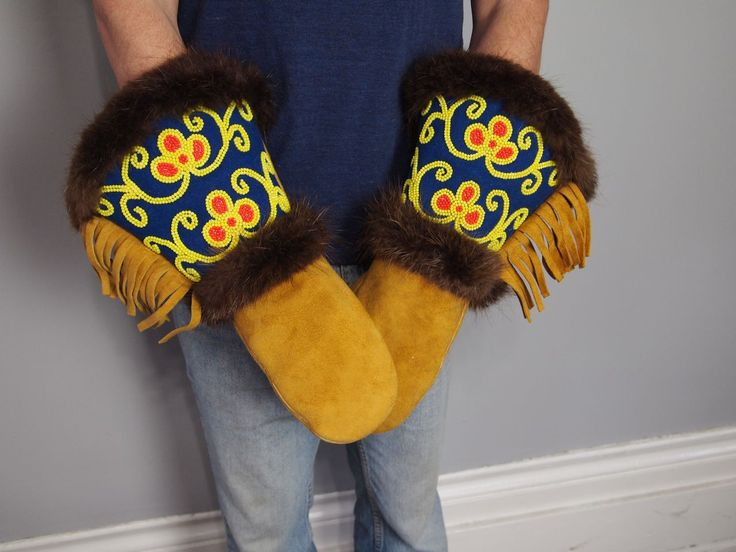 Vtg Native American Beaded Leather GAUNTLET GLOVES coat mittens Fringe