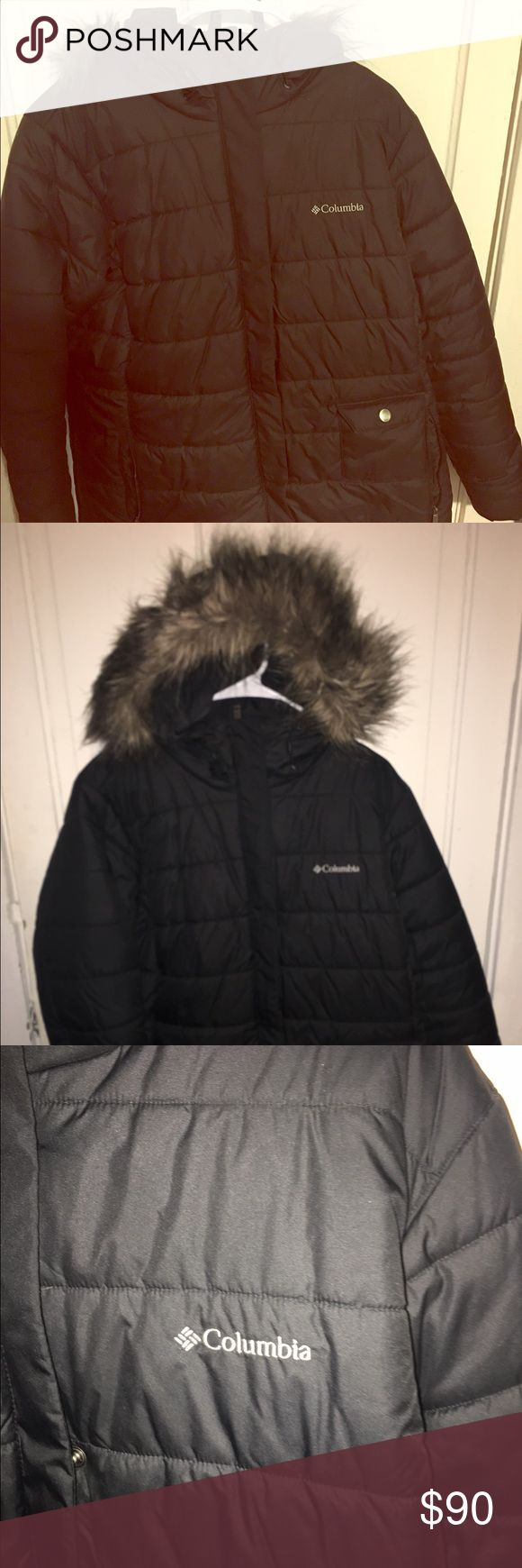 Columbia Down Coat with Fur Hood This plus size Columbia coat is in great condition! The inside tag has been removed, but the coat is a 1x. In perfect condition! Columbia Jackets & Coats Puffers
