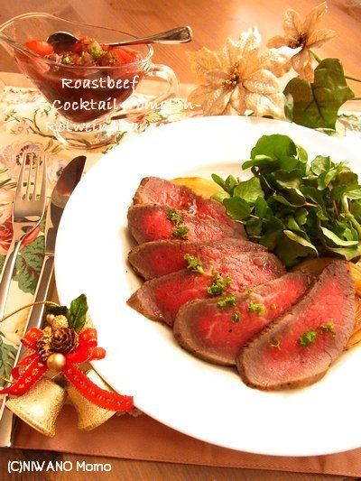 フライパン・ローストビーフ ~ 完熟チェリートマトと赤ワインのソース