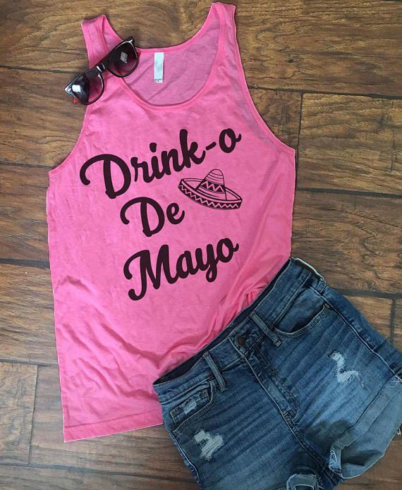 Drink-o Cinco de mayo NEON drinking Shirt. Cinco-de-mayo