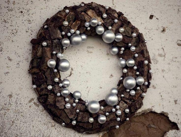 Winter wreath - Christmas wreath - Centerpiece -Christmas decoration, - brown, silver, white. $36.00, via Etsy.