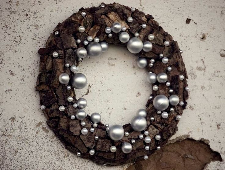 Winter wreath - Christmas wreath - Centerpiece -Christmas decoration, - brown, silver, white. $36.00, via Etsy.