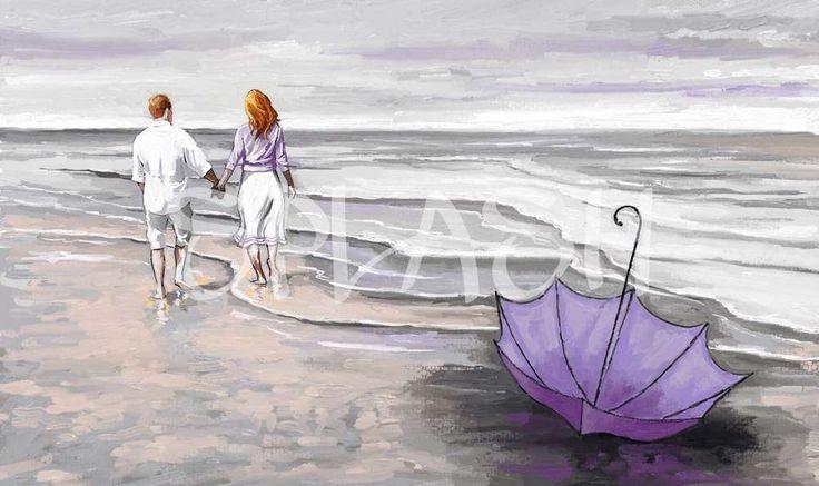 Cuadro moderno marina de pareja paseando por pa playa paraguas SP291