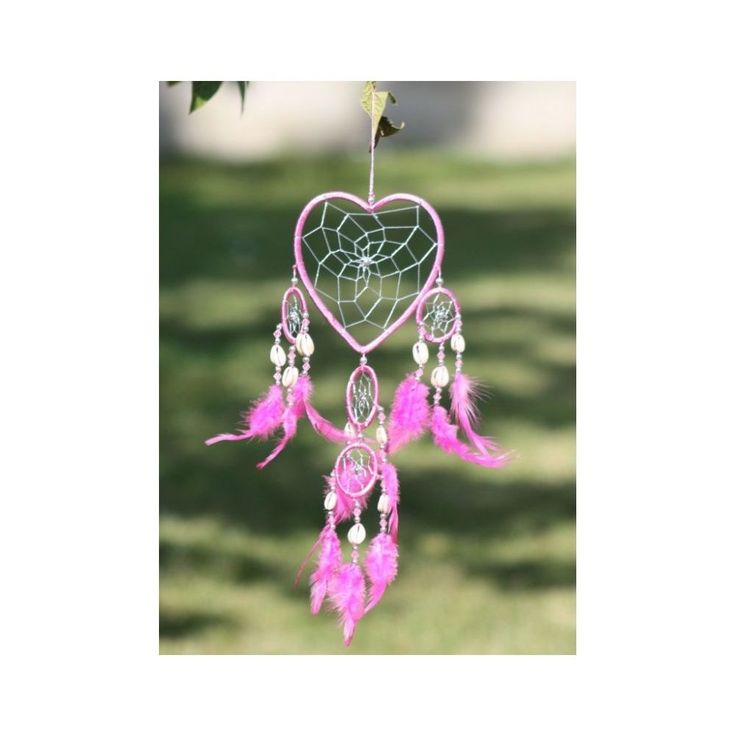 Small Pink Cotton 5 Ring Love Heart Dreamcatcher