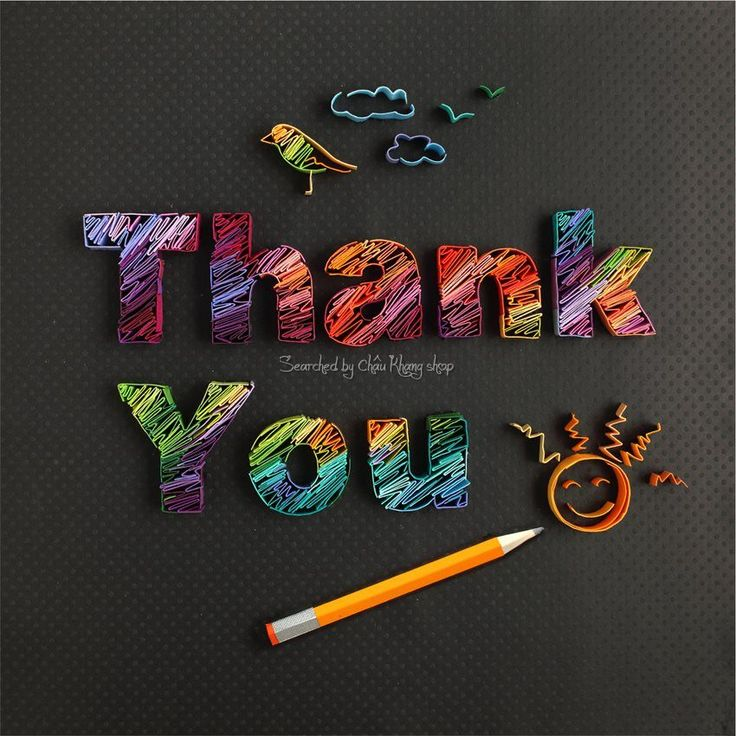 Quilled Thank You - Love how the letters look as though they've been coloured in with pencil strokes! © Yulia Brodskaya