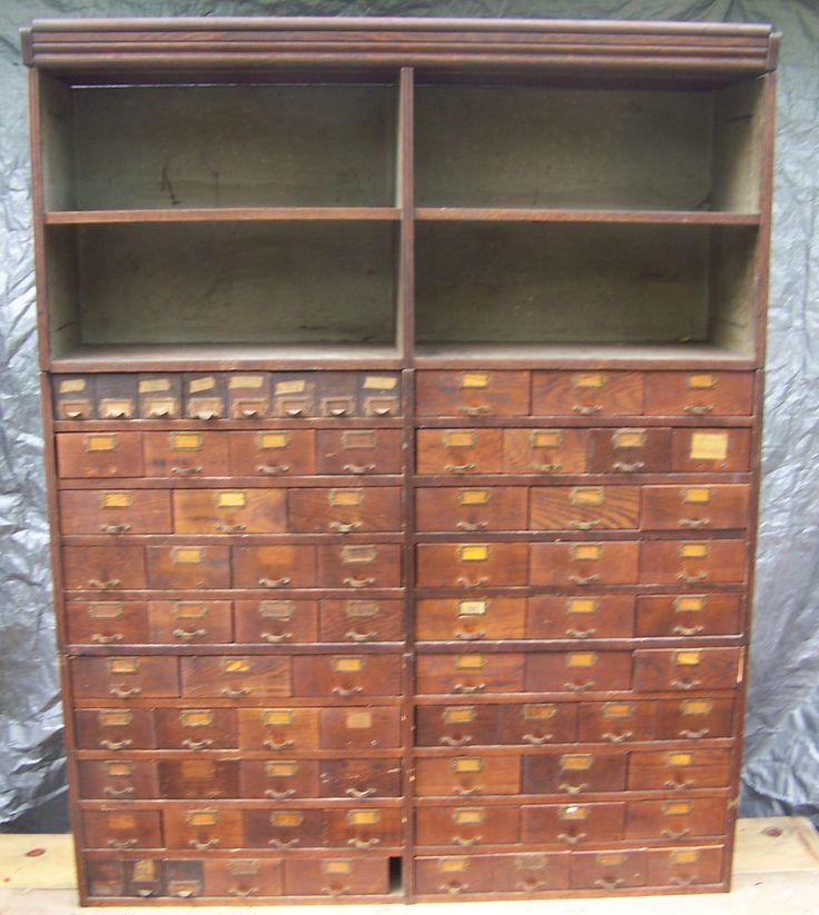 Antique Oak 77 Drawer 4 Shelves Parts Cabinet Stacks 3