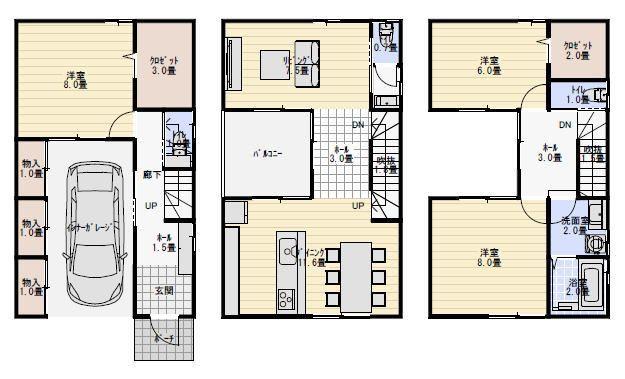 40坪ビルトインガレージのある3階建ての間取り 三階建て 間取り