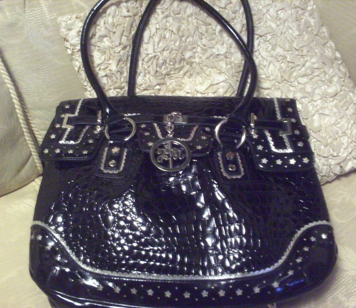 Julien Macdonald Star, Large Patent Hand/Shoulder Bag, Silver Trim & Metal Logo