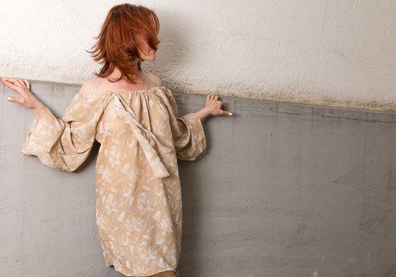 Kleid/Sommerkleid/Seidenkleid/Bella/Tunika/Seidentunika/Beige/Rote von RoteTulpe