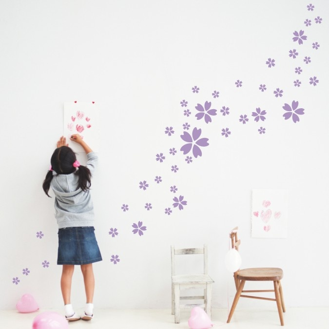 46 Flower Light - Purple Bedroom Kitchen Bathroom child room Wall Stickers Decal