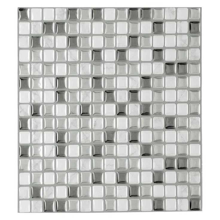 Achim Magic Gel Silver Glass 9.13 x 9.13 in. Self-Adhesive Vinyl Wall Tile - MGTSLVGL24