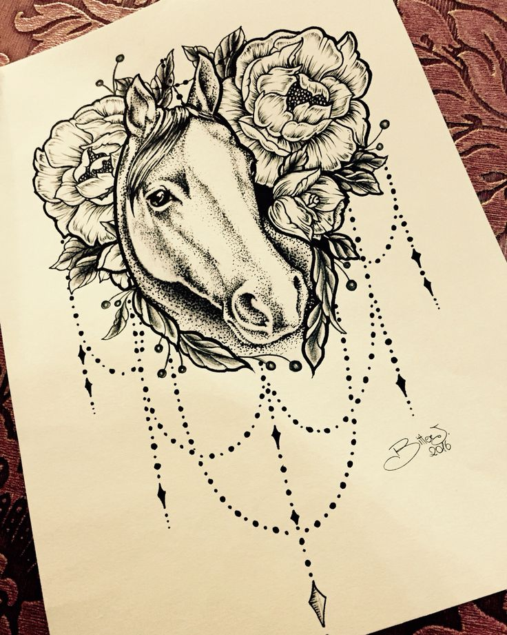 Horse tattoo sketch•peony• drawing for tatoo.Dotwork #helldoradotattoo #i_tattoo…