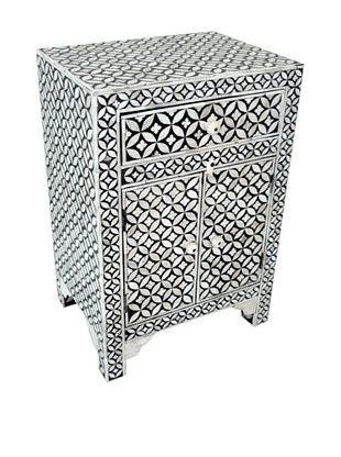 -58,800% OFF Mili Designs 1 Drawer 2 Doors Geo Design Bone Inlay Bedside, Black/Cream