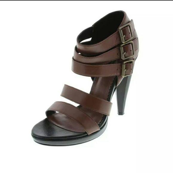 NIB $315 Diesel Brown and Black Scrappy Heels Sz 6 Size 6 heels new in box MSRP $315 SALE $129 Diesel Shoes