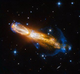 The Calabash Nebula, pictured here — which has the technical name OH 231.8+04.2 — is a spectacular example of the death of a low-mass star like the Sun. This image taken by the NASA/ESA Hubble Space Telescope shows the star going through a rapid transformation from a red giant to a planetary nebula, during which it blows its outer layers of gas and dust out into the surrounding space. The ejected material — the gas shown in yellow is moving close to a million kilometres an hour.