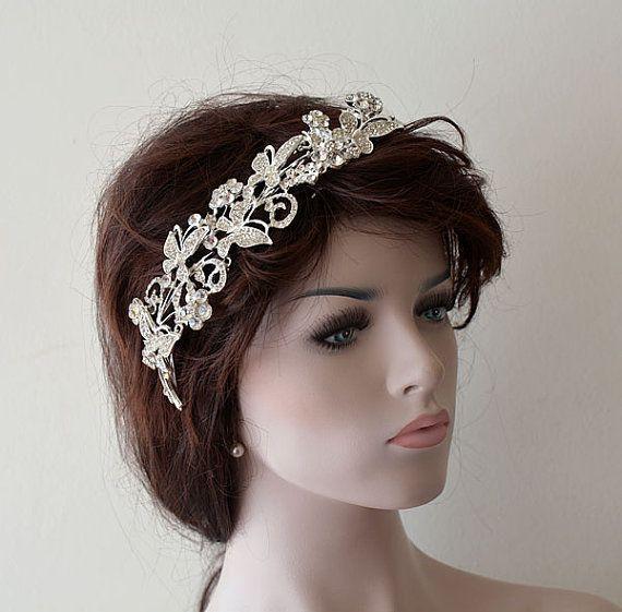 Accessoires de cheveux de mariage, bandeau de papillons argentés, peigne pour pièce de cheveux, accessoire de cheveux de mariée, bandeau de mariée, bandeau de mariage