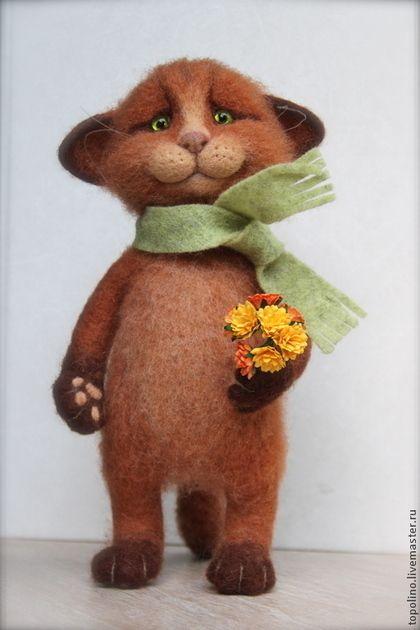 Кот Йоши - рыжий,рыжий кот,кот из шерсти,Валяный кот,валяный котик,валяный котенок
