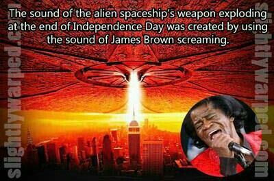 The sound of the alien spaceship weapon exploding at the end of Independence Day was created from the sound of James Brown screaming