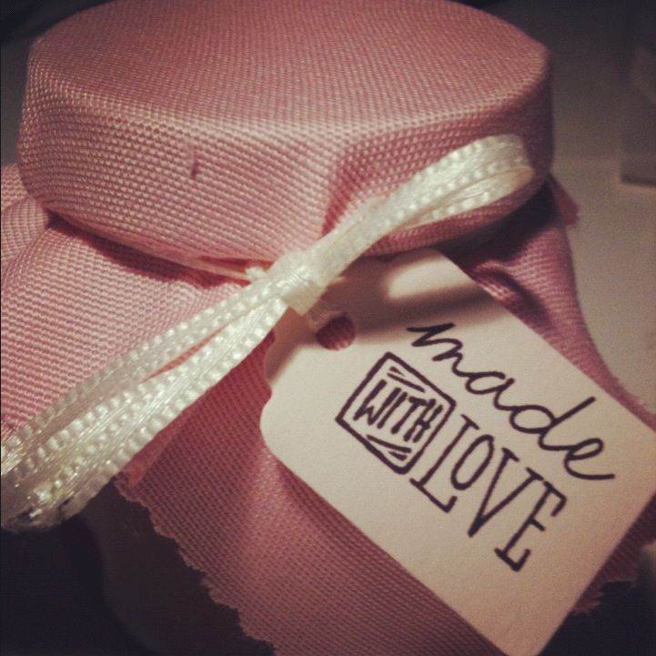 Made with love label on homemade jam