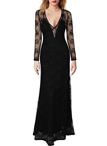 Miusol Women's Deep-V Neck Long Sleeves Floral Lace Bridesmaid Dress Miusol