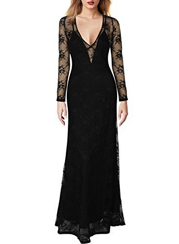 Miusol Women's Deep-V Neck Long Sleeves Floral Lace Bridesmaid Dress Miusol