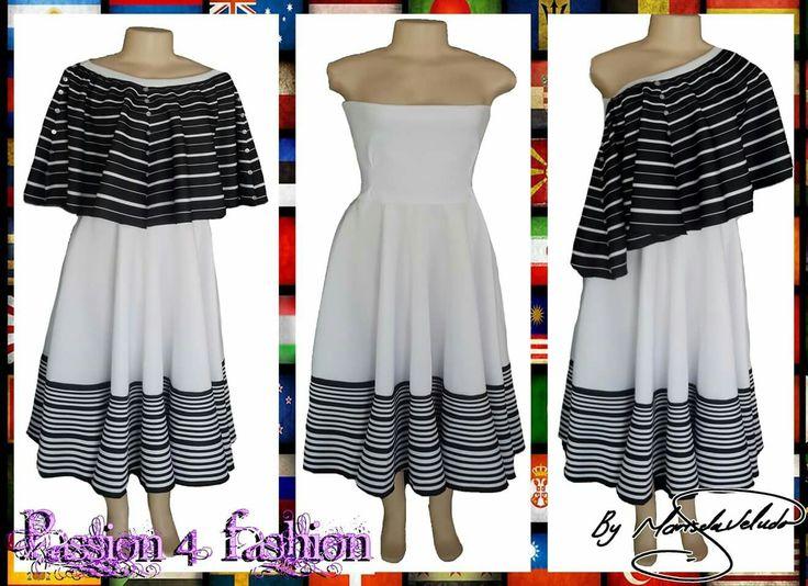 Xhosa black & white 2 piece modern traditional dress. Boob tube dress with a removable poncho. #mariselaveludo #fashion #traditionalwear #passion4fashion #traditionaldress #moderntraditionalwear #blackandwhite