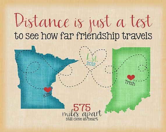 Long Distance Maps, Custom Best Friend Present, Going Away Gift, Popular Friend Gifts, Friendship Quote, 2 States, Multi State Map Art