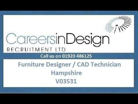 Furniture Designer / CAD Technician, Hampshire, V03531. This independent design studio creates beautiful bespoke cabinetry for Kitchens, Utility Rooms, Boot Rooms and Bedrooms. They seek a Furniture CAD Technician to prepare technical drawings and carry out site surveys. You'll be fluent in the use of CAD systems (Draft CAD a bonus), have knowledge of cabinetry and furniture (ideally kitchens) and be comfortable in a client / contractor facing role. Salary is £24,000 to £25,000.