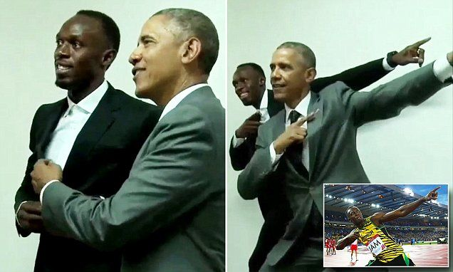 Usain Bolt poses with Barack Obama during President's Jamaica visit