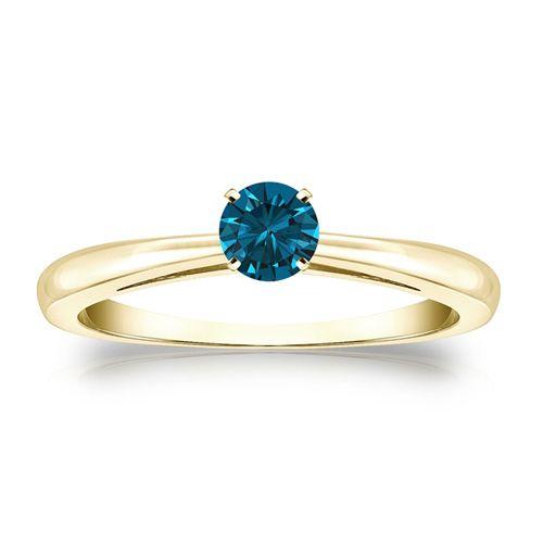 Diamantring 0.25 Karat blauer Solitär 585/14K Gelbgold  #diamantring #weissgold #gelbgold #rosegold #blauer_diamant #verlobung #juwelier #abt #dortmund