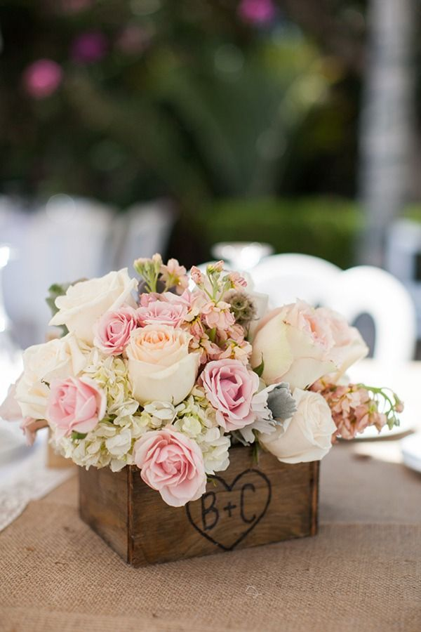 """A box like this but with an """"e"""" and """"b"""" and with white snap dragons and blue hydrangas on each table in the cocktail room, during cocktail hour, along with different pictures from our engagement photoshoot"""