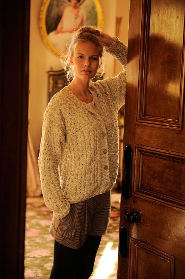 Aran Inspired Cardigan - Made from a Linen & Cotton Mix - www.standun.com