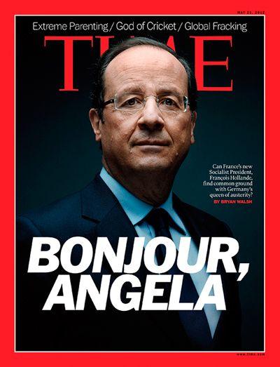 "portada de la revista TIME... Hollande: ""Bonjour, Angela"""