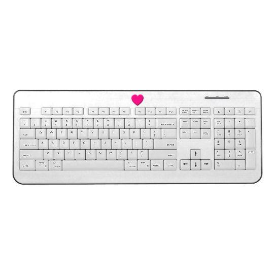 Pink Heart - White Wireless Keyboard by www.zazzle.com/htgraphicdesigner* #zazzle #gift #giftidea #love #heart #white #wireless #keyboard #computer #laptop