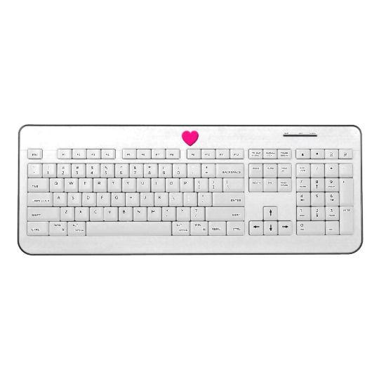 Pink Heart - White Wireless Keyboard by www.zazzle.com/htgraphicdesigner* #zazzle #gift #giftidea #love #heart #white #wireless #keyboard #computer #laptop