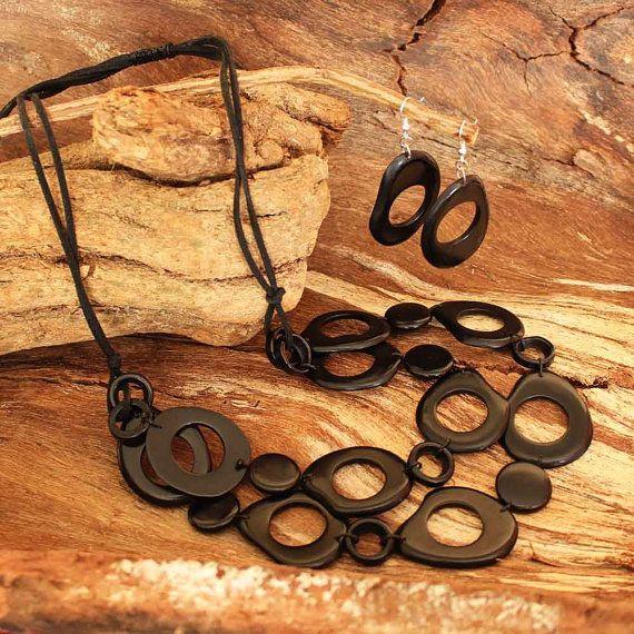 Black Chunky Necklace  Tagua Nut Necklace  by ArtisansintheAndes