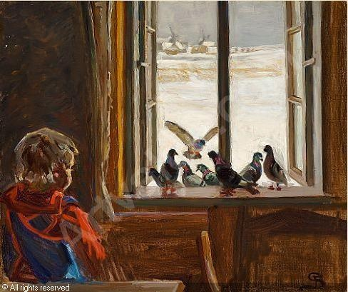 Fritz (Frits) Syberg (1862-1939): Kunstnerens datter betragter duerne i vindueskarmen