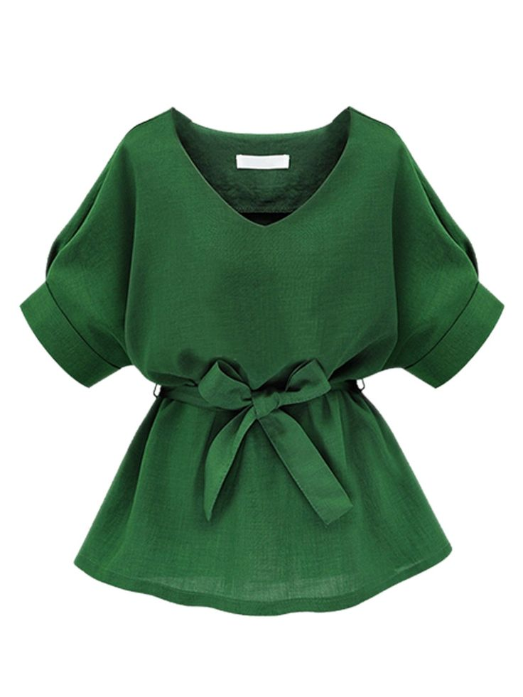 Green V Neck Bow Tie Short Sleeve Blouse | abaday I really like this. Nice cut and love the color.