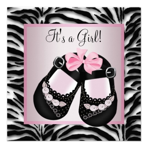 shoes pink zebra baby shower card zebra baby showers baby girl shower