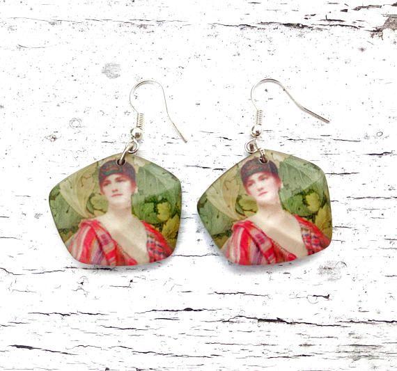 Earring Paintings Renaissance Earrings Art Nouveau Earrings