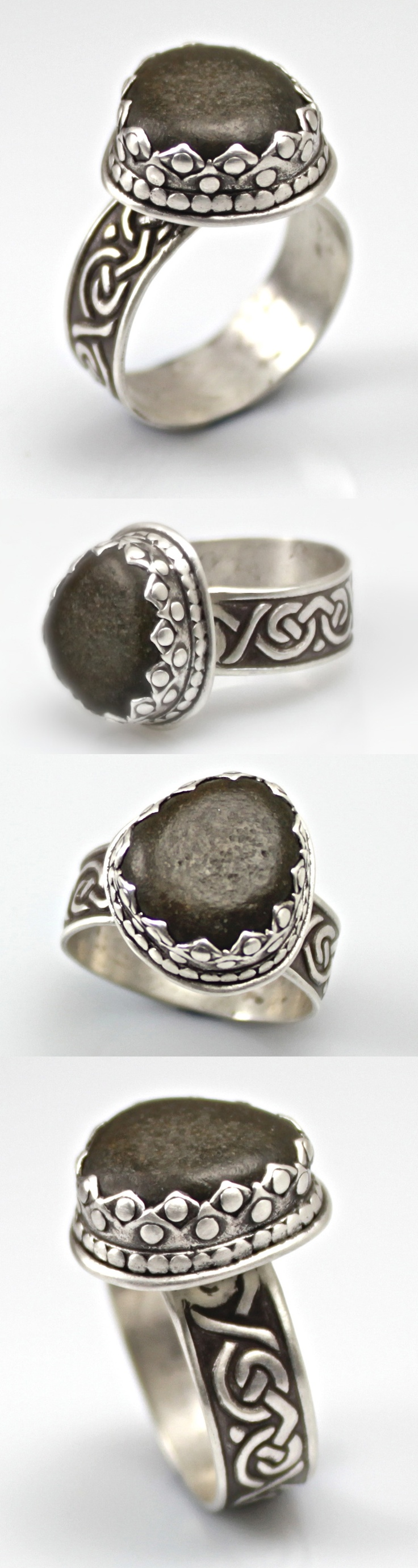 Beul-oideachas Ring by Wanaree Tanner  Original knot work design in sterling silver, custom cut bezel around a beach stone from Ireland.